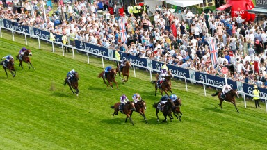 Anthony Van Dyck (Seamie Heffernan, far rail) had bookmakers cheering as he win the Investec Derby