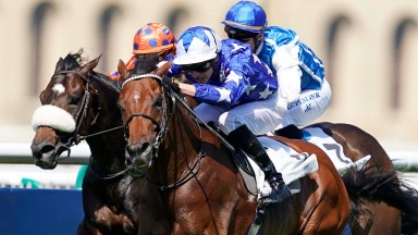 Time to go: James Doyle presses the button as Aspetar heads for Grand Prix victory at Chantilly