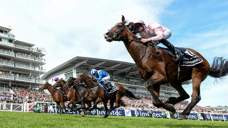Anthony Van Dyck (near side) won the Derby but it was a close-run thing