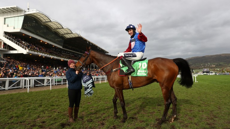Aidan Coleman celebrates on Paisley Park after landing the Stayers' Hurdle in 2019