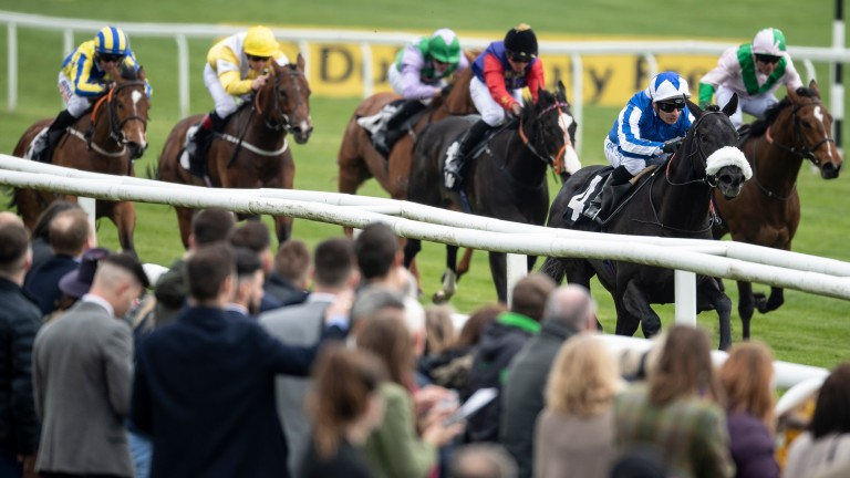 Happy Power (sheepskin noseband) clears away from his rivals at Newbury in April