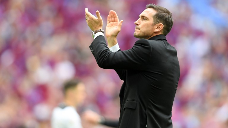 Frank Lampard applauds the Derby supporters following their playoff final defeat