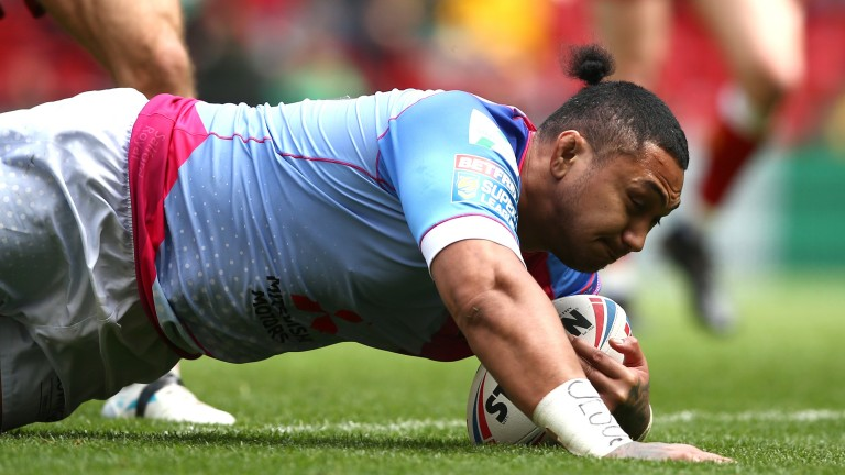 Pauli Pauli scores a Magic Weekend try for Salford Red Devils