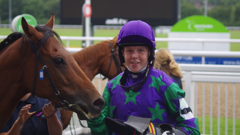 Tim Jones after finishing third in a Wolverhampton pony race