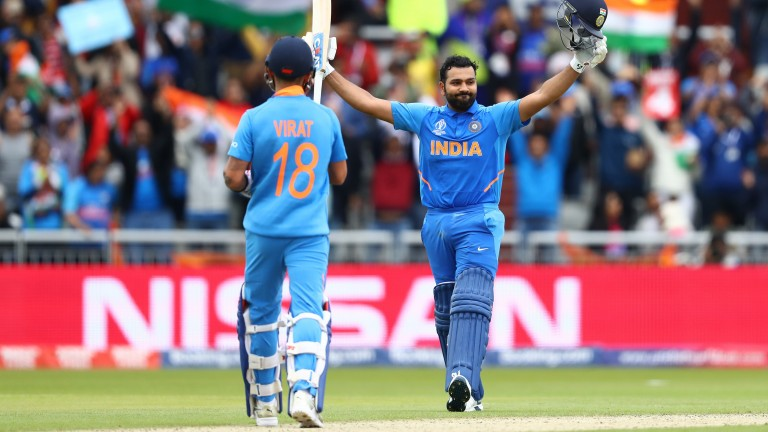 India opener Rohit Sharma celebrates reaching 100 against Pakistan at Old Trafford