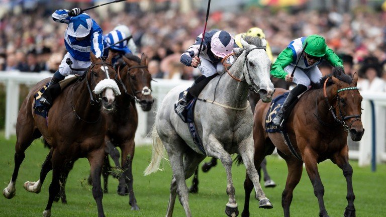 Lord Glitters (grey) powers on in the Queen Anne Stakes