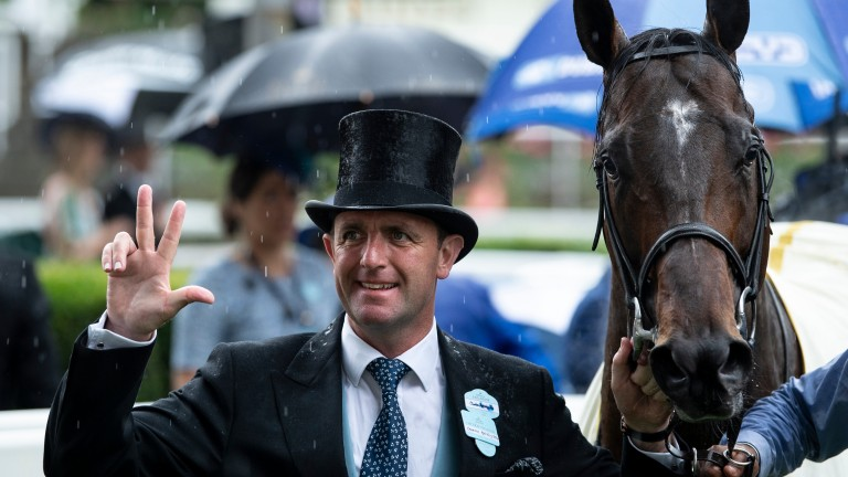 Charlie Appleby celebrates with Blue Point after the King's Stand Stakes on Tuesday