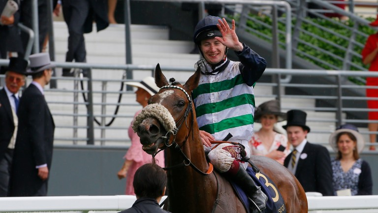 Oisin Murphy waves to the crowd after winning his first Royal Ascot race this year
