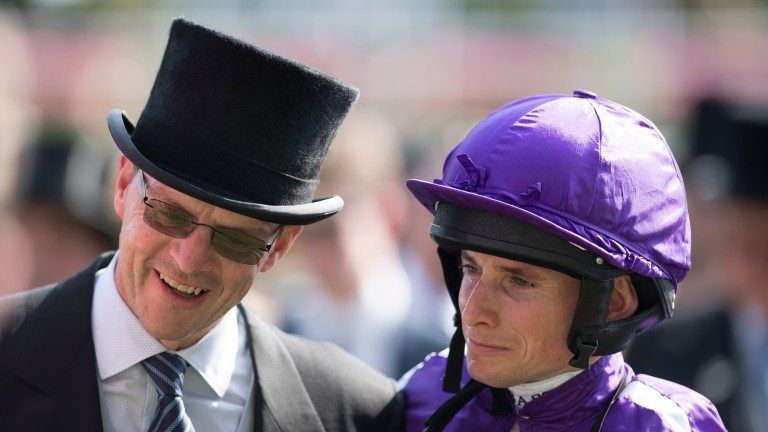 Aidan O'Brien and Ryan Moore after the Prince of Wales's stakesRoyal Ascot 21.6.17 Pic: Edward Whitaker