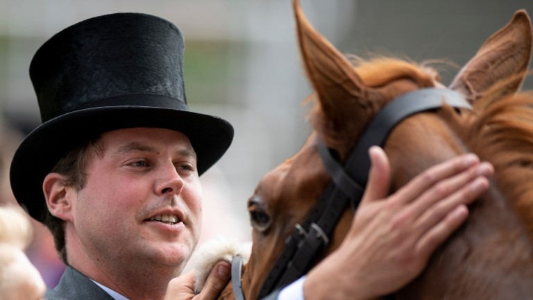Charlie Fellowes gives a pat to Thanks Be after the Sandringham Stakes at Royal Ascot