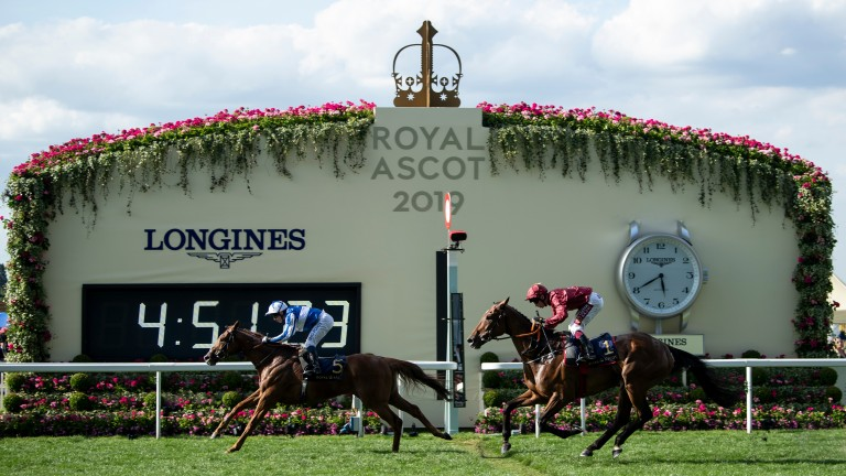 Cleonte lands the Queen Alexandra Stakes from Pallasator