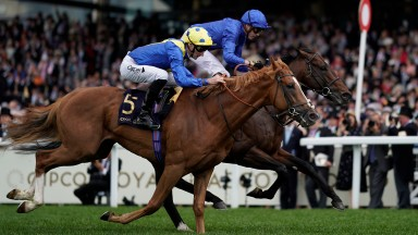 ASCOT, ENGLAND - JUNE 22: James Doyle riding Blue Point (blue) to win The Diamond Jubilee Stakes on day five of Royal Ascot at Ascot Racecourse on June 22, 2019 in Ascot, England. (Photo by Alan Crowhurst/Getty Images for Ascot Racecourse )