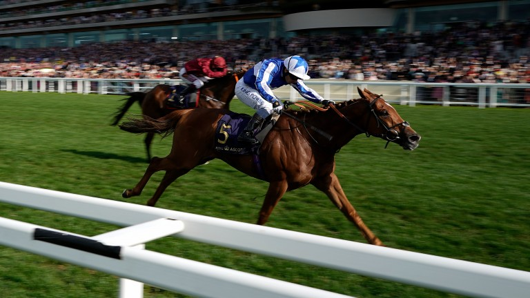 Close-up on Cleonte (Silvestre De Sousa) as he wins the last race of this year's Royal Ascot meeting that is the Queen Alexandra Stakes with runner-up and last year's winner Pallasator chasing him home