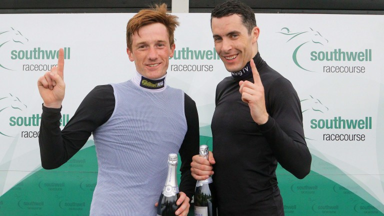 Sam Twiston-Davies (left) and Aidan Coleman celebrated their 1,000th winners at Southwell,