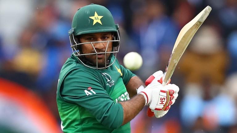 Pakistan captain Sarfaraz Ahmed in action against India