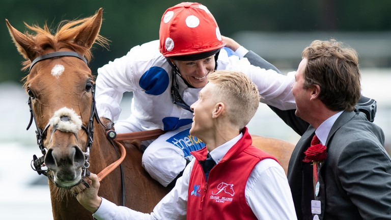 Sharing the limelight: Hayley Turner and Charlie Fellowes celebrate after their Royal Ascot triumph