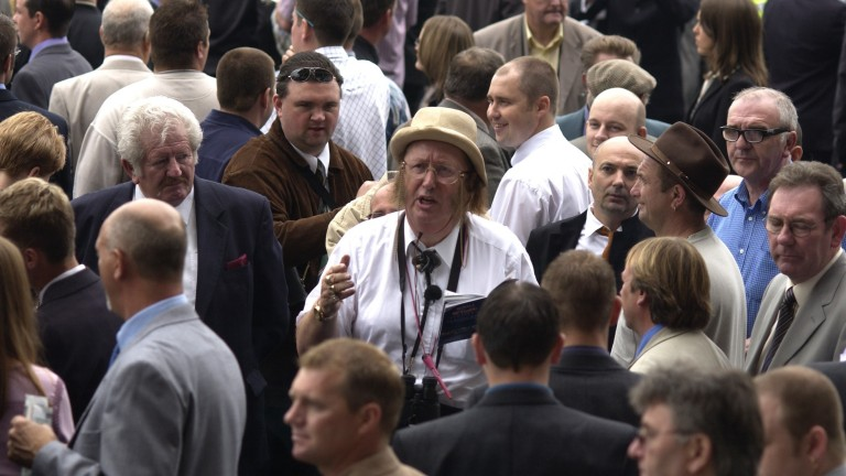John McCririck in the betting ring at Doncaster in 2002