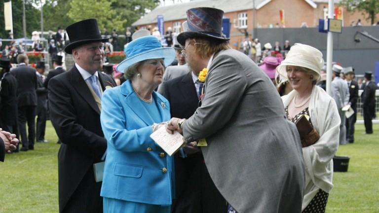 John McCririck meets former Conservative prime minister Margaret Thatcher at Royal Ascot in 2008