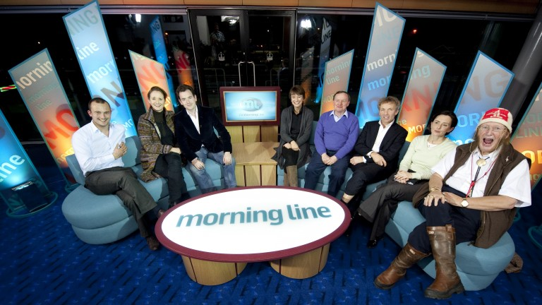 John McCririck (right) with the Channel 4 Morning Line team in 2011