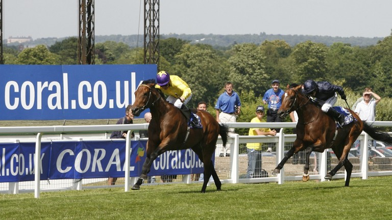 Sea The Stars (Mick Kinane) stretches clear of Rip Van Winkle to win the 2009 Eclipse at Sandown