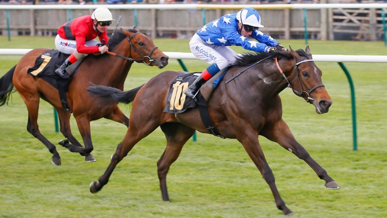David Egan guides Qabala to victory in the Nell Gwyn Stakes at Newmarket