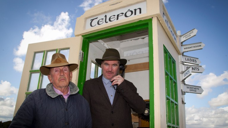 Back to the scene of the 'crime': Barney Curley at the infamous phone box instrumental in the Yellow Sam coup, with actor Padraic McIntyre who played him in a theatre production