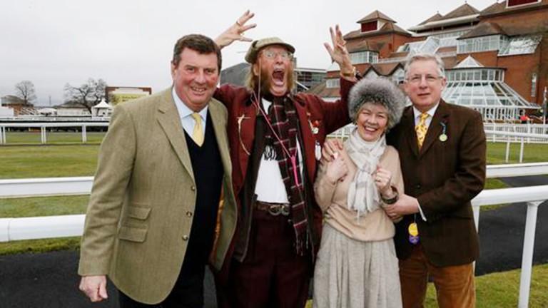 John McCririck with fellow patrons Nigel Bunter (left) and Mike O'Kane and Greatwood managing director Helen Yeadon