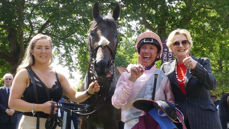Back in the winning groove: Too Darn Hot with Frankie Dettori, groom Maise Robinson and owner Lady Lloyd-Webber