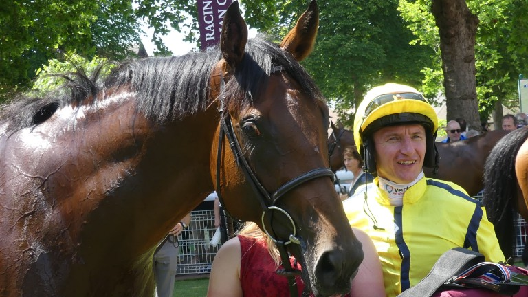 Far Above and PJ McDonald after the pair had landed the Prix Kistena at Deauville