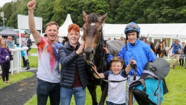 THE JAM MAN (Aiden Coleman) with Trainer and son Ronan MP McNally Wins at CARTMEL 30/6/19Photograph by Grossick Racing Photography 0771 046 1723