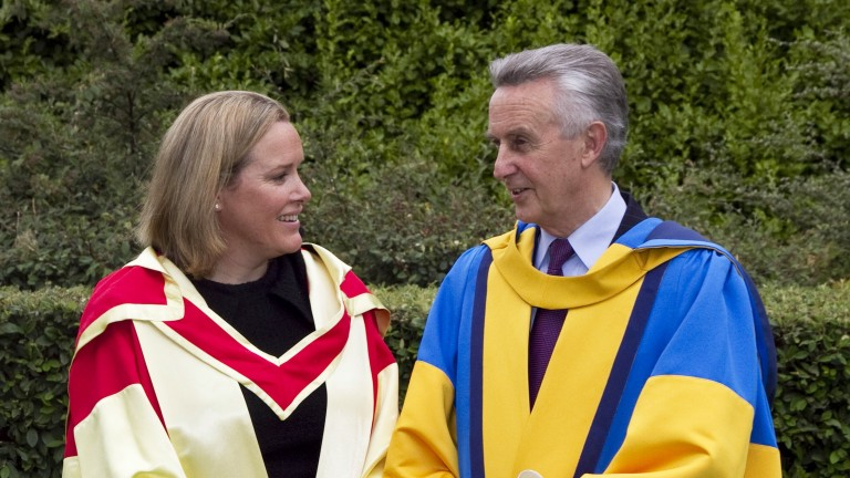 Emmeline Hill with Jim Bolger as he was given an honorary degree from University College Dublin