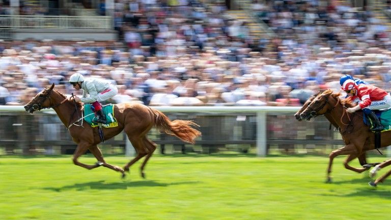 Raffle Prize cruises clear of Daahyeh and Final Song in the Duchess of Cambridge Stakes at Newmarket