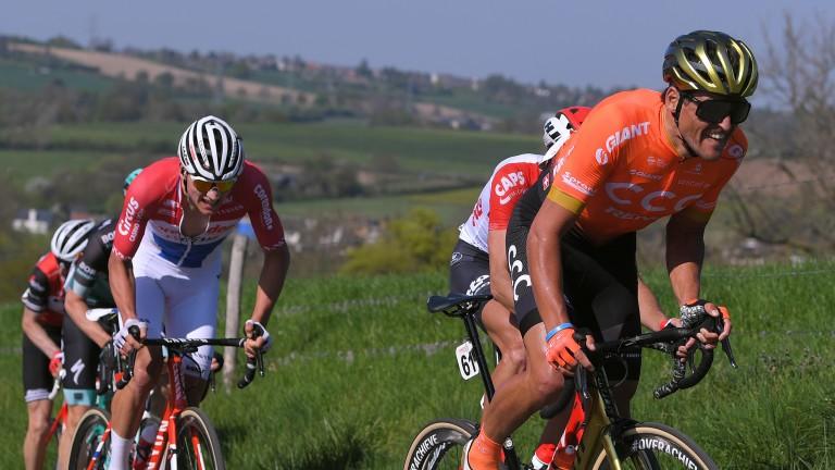 Greg van Avermaet (orange) should relish the undulating nature of stage eight