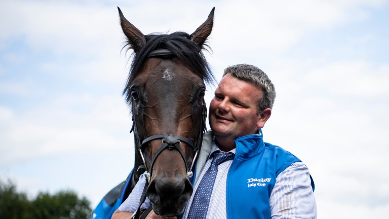 Ten Sovereigns with his groom David Hickey after the July Cup