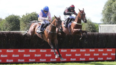 CALLTHEBARMAN Ridden by Sean Flanagan (Pink) wins The SunSport Chase at Perth 14/7/19GROSSICK PHOTOGRAPHYThe Steadings Rockhallhead Collin DG1 4JW 07710461723www.grossick.co.uk