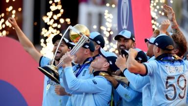 England captain Eoin Morgan lifts the World Cup