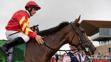 Iridessa and Wayne Lordan wins the Juddmonte Pretty Polly Stakes (Group 1).The Curragh.Photo: Patrick McCann/Racing Post 28.06.2019