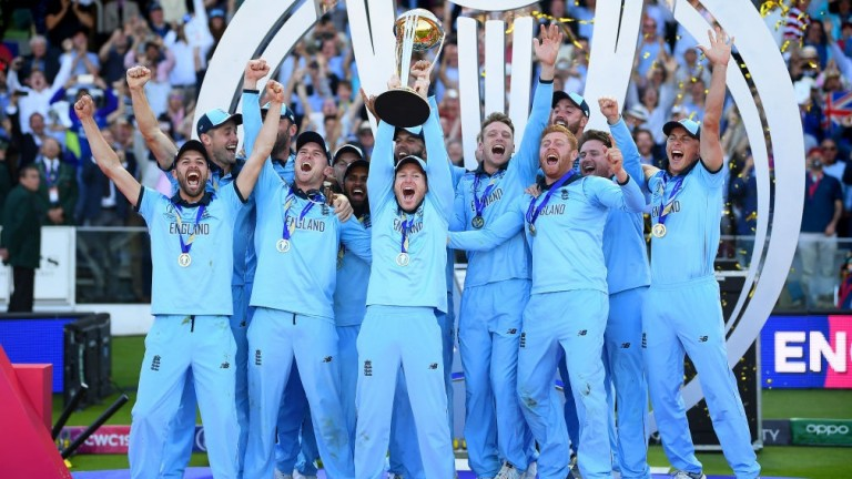 England captain Eoin Morgan lifts the Cricket World Cup trophy after their dramatic success over New Zealand at Lord's