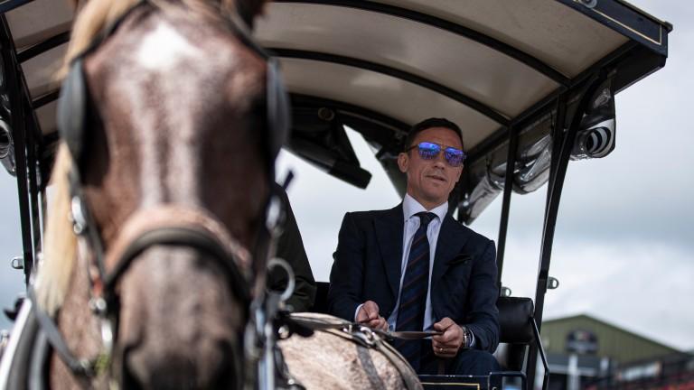 Star of the show: Frankie Dettori arrives at Killarney in Kevin Tangney's jaunting car