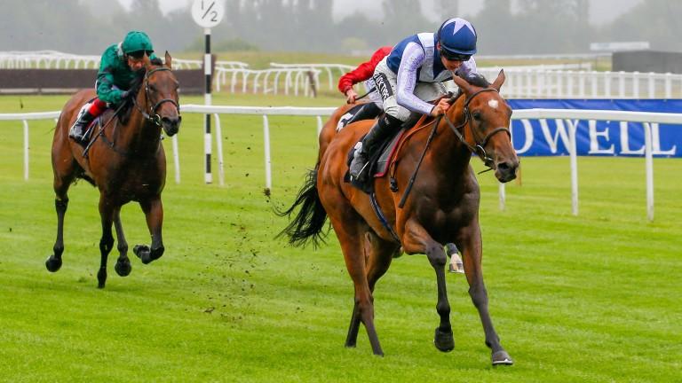 Antonia De Vega strides clear in the Johnnie Lewis Memorial British EBF Stakes at Newbury