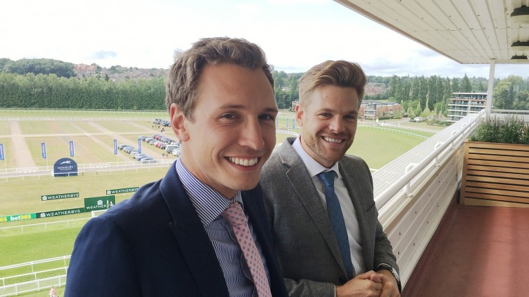 Cricket fans Oli Bell and Tom Stanley were reunited at Newbury on Saturday