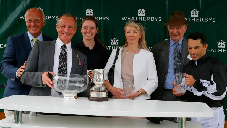 Rod Millman (second left) receives the Weatherbys Super Sprint trophy following the success of Bettys Hope