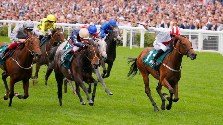 Under The Stars (right) wins the Princess Margaret Stakes at Ascot