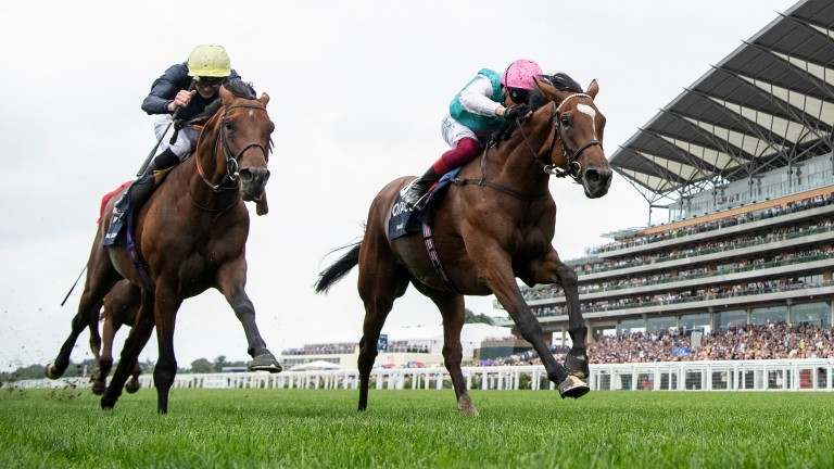 Crystal Ocean and James Doyle (left) push Enable all the way at Ascot