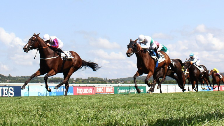 Laurens winning the Group 1 Prix Rothschild at Deauville