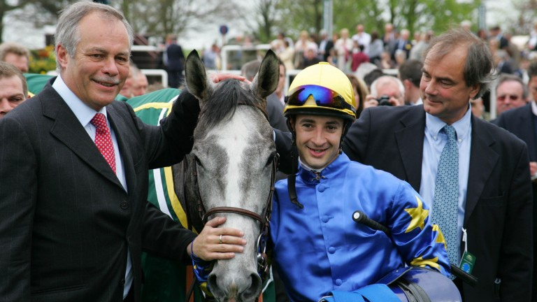 Natagora after her 1,000 Guineas win with jubilant connections (l-r) Patrick Barbe, Christophe Lemaire and Pascal Bary