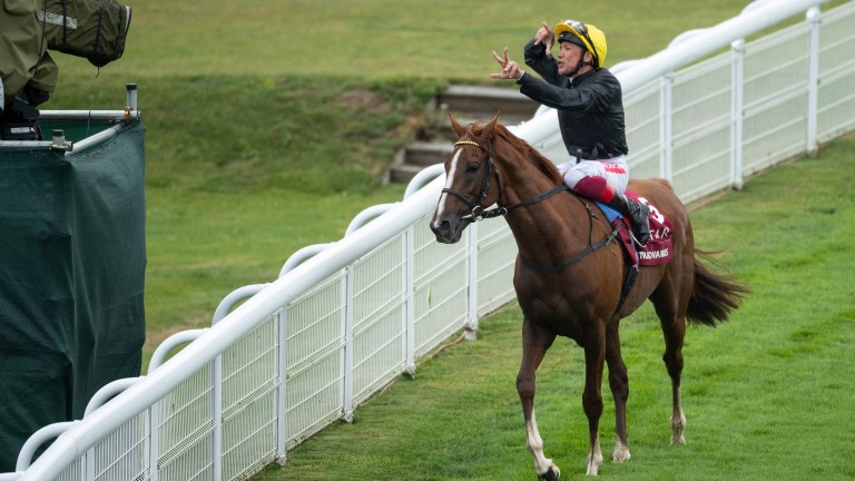 Stradivarius and Frankie Dettori after their Goodwood Cup success last month