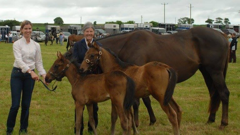 Roisin Shanahan and Grania Barrett with Kerry's Kingdom and the twins as foals