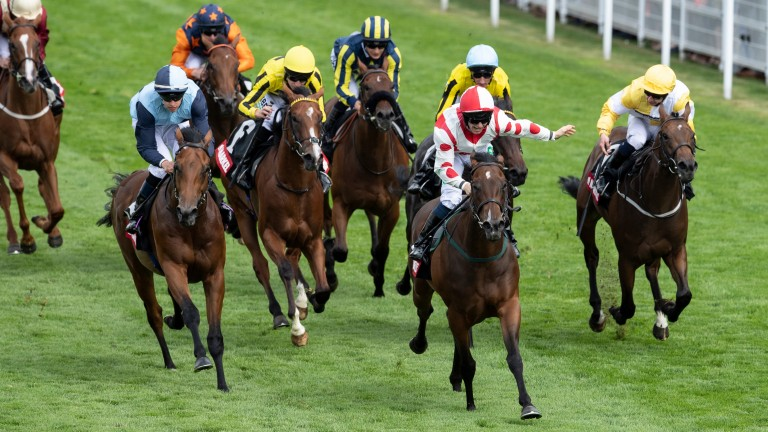 Liberty Beach and Jason Hart (centre) land the Group 3 Molecomb Stakes at Glorious Goodwood