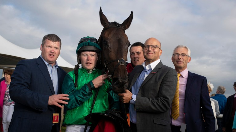 Gordon Elliott, Luke Dempsey, Darren Treacy, Simon Munir and Anthony Bromley pictured with Borice following their Galway Plate success